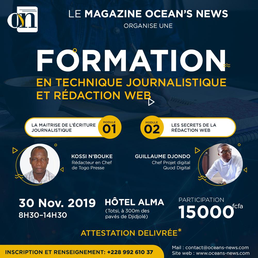 La rédaction du magazine Ocean's News organise une formation en Rédaction Web et Technique Journalistique