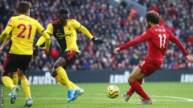 Liverpool a battu la lanterne rouge, Watford, grâce à un doublé de l'Égyptien Mohamed Salah