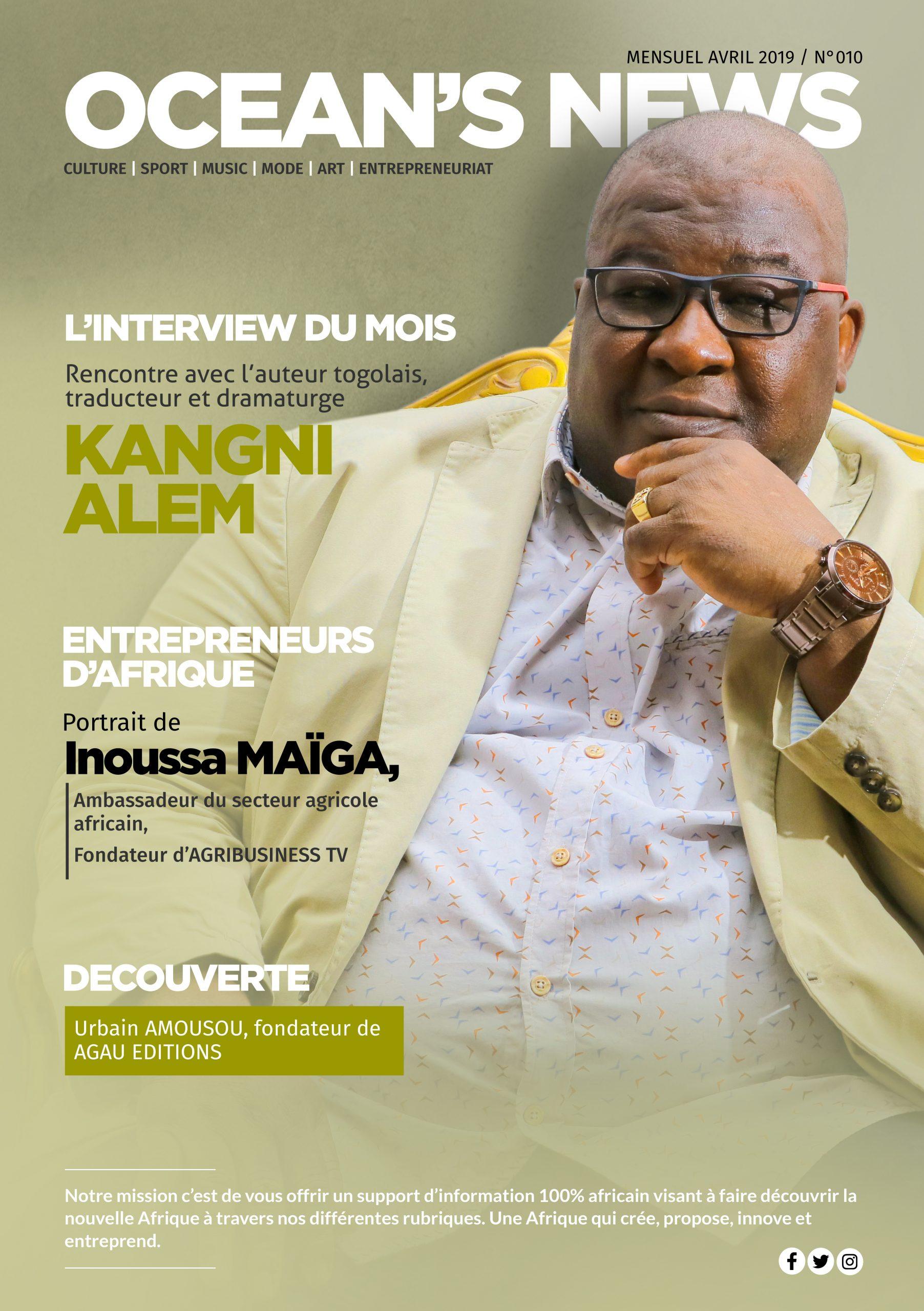 L'écrivain Togolais Kangni Alem fait la couverture du magazine Ocean's News N°10