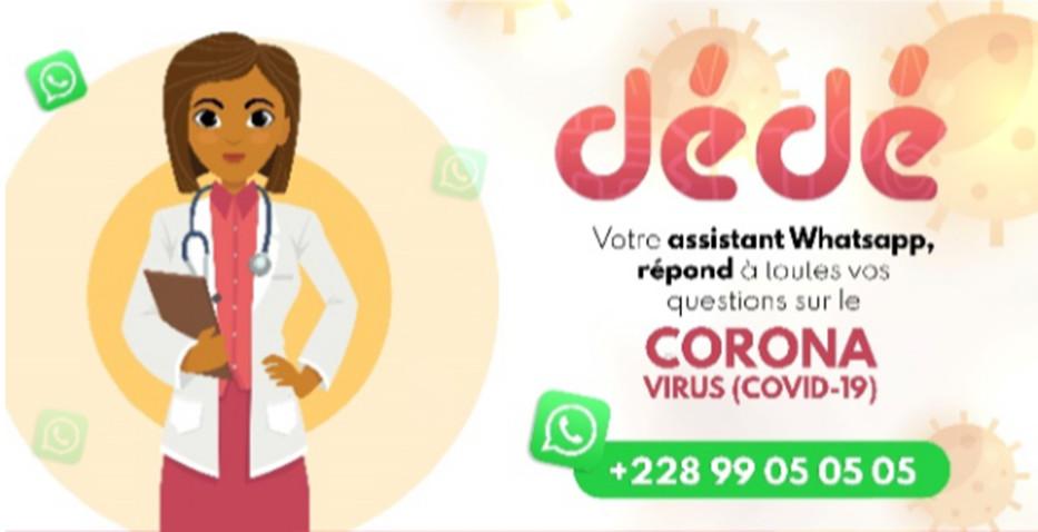 L'assistant WhatsApp Dédé vous permet de savoir si vous êtes infecté par le coronavirus ou pas. La solution est développée par la start-up Semoa, une plateforme spécialisée dans les technologies financières. Pour se joindre au combat contre la propagation du coronavirus, Semoa a converti sa plateforme d'opérations monétaires sur WhatsApp en assistant d'autodiagnostic.