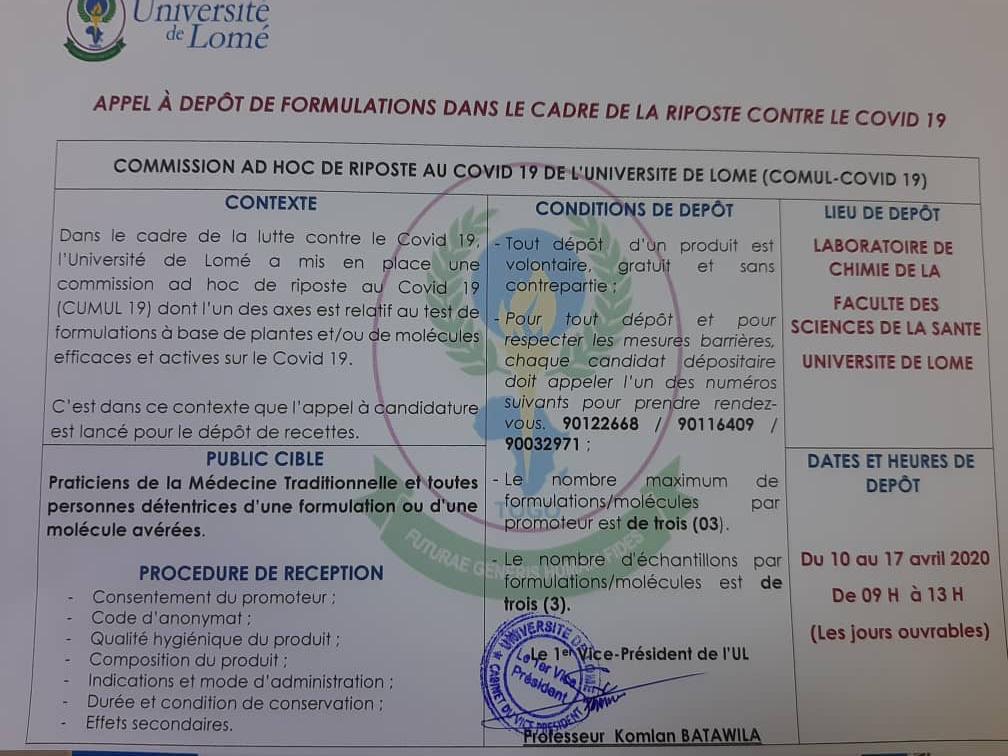 Coronavirus au Togo, la COMUL-COVID 19 lance un appel à dépôt de formulations