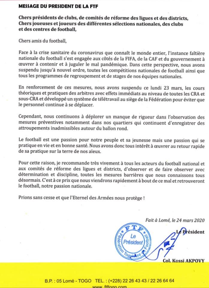 La FTF appel au respect des mesures prises par le gouvernement pour lutter contre le coronavirus