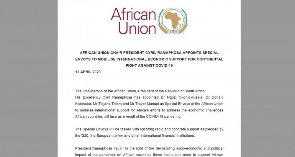 Tidjane Thiam envoyé spécial de l'Union Africaine