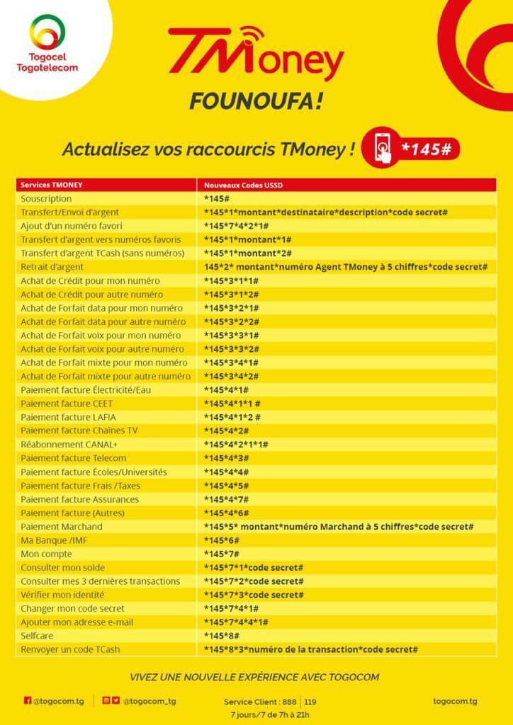 Liste des nouveaux raccourcis USSD du service Tmoney